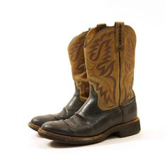 Ariat Twotone Leather Cowboy Boots / Men's sz 10 / by nickiefrye, $68.00