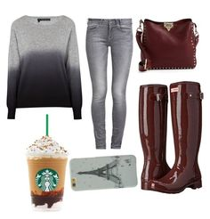 """""""Starbucks Trip!"""" by zeniboo ❤ liked on Polyvore featuring Hunter, GUESS, 360 Sweater, Valentino, women's clothing, women, female, woman, misses and juniors"""