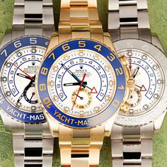 A Stack of Rolex Yacht-Master Watches. Left: Stainless Steel Reference 116680, Middle: Yellow Gold Reference 11668, Right: White Gold Reference 116689 http://www.bobswatches.com/rolex-yachtmaster-1.html