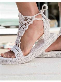 Strappy Sandals   InterweaveStore.com pattern to buy - you crochet these over a flip flop bottom - too cool!!