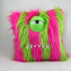 Pink and Lime Green Monster Pillow by bearmojo on Etsy
