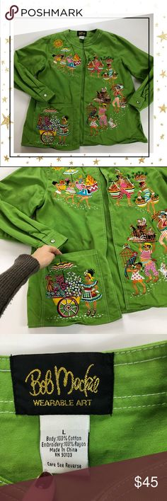 Bob Mackie  Wearable Art Green Embroidered blazer5 100% cotton, one front patch pocket. Like new condition. Offers welcome. No trade Bob Mackie Jackets & Coats Blazers