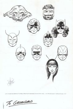 """Marvel1980s: """" Marvel Heads by John Byrne and Terry Austin! http://www.comicartfans.com/GalleryPiece.asp?Piece=1067138&GSub=150714 """""""