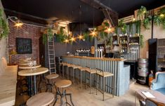 Home Decoration Design Ideas Rustic Restaurant Interior, Decoration Restaurant, Deco Restaurant, Vintage Restaurant Design, Industrial Restaurant Design, Outdoor Restaurant Design, Pub Decor, Industrial Cafe, Restaurant Interiors