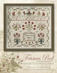 With thy Needle & Thread.  Brenda Gervais reproduction.  Cross Stitch Sampler.