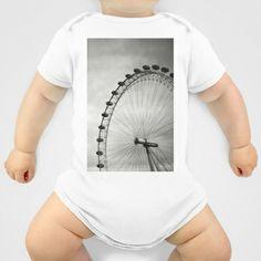 London Eye Onesie by Anja Hebrank - $20.00   #london #londoneye #uk #england #clouds #old #vintage #streetphotography #canon #present #decoration #kitchen #interior #bnw #blackwhite #travelling #travelphotography #design #individual #society6 #print #art #artprint #interior #decoration #design #fashion #clothes #clothing #tshirt #shirt #top #onesie #babies #baby #children