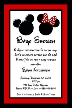 mickey and minnie mouse inspired baby shower invitation great for twins or unknown gender you print