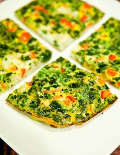 Love and want. (Spinach and Red Pepper Frittata. Quick & easy breakfast-for-dinner idea. Pretend it's pizza and eat it by the slice. Naturally gluten-free.)
