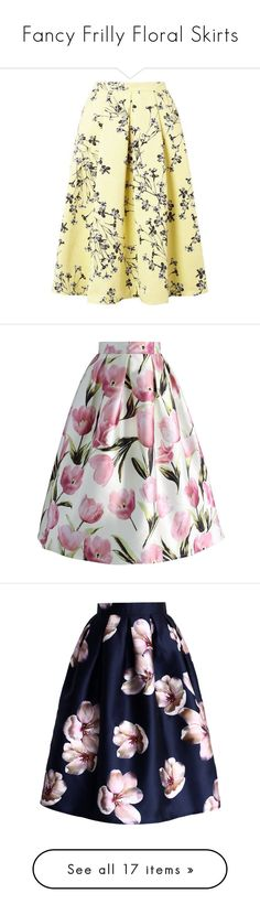 """""""Fancy Frilly Floral Skirts"""" by whatevenisfashion ❤ liked on Polyvore featuring skirts, yellow skirt, yellow knee length skirt, midi skirt, yellow floral skirt, flower print skirt, pink, a line midi skirt, pink midi skirt and pink a line skirt"""