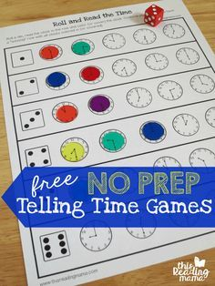 No Prep Telling Time Games {FREE} - with 3 levels of play - This Reading Mama - Learning to Tell Time Telling Time Games, Telling Time Activities, Math Activities, Telling The Time, Math Classroom, Kindergarten Math, Teaching Math, Teaching Time, Preschool