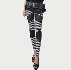women stripe leggings patch Trousers fashion black white sexy leggings support wholesale free shipping  $8.23