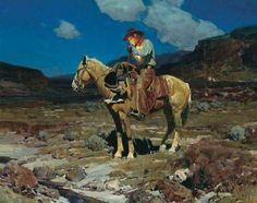 "Frank Tenney Johnson  | ... Somewhere on the Range"" Frank Tenney Johnson, His last oil painting"