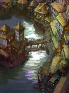 212 by ~SnowSkadi on deviantART bridge, straw looking roofs, seemingly manmade island, stairs over section on island,