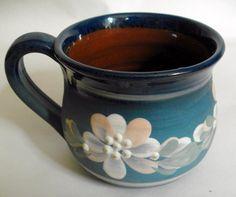 Vintage Retro blue Haseley Manor Studio Pottery floral mug IOW #10293