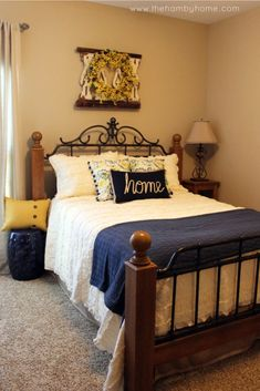 Pops of Yellow for a Spring styled bedroom