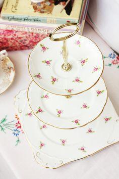 Rosy 3 tier dessert tray / cupcake / macaron by NancysTeaShop, $75.00