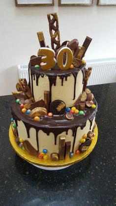 Excellent Picture Of Mens Birthday Cake Two Tier Chocolate Drip Yuumm 30