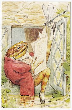 Postcard - Beatrix Potter - The Tale of Mr. Jeremy Fisher - Frog Reading Home