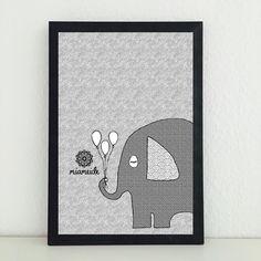 Illustrationen - Elefant Ballons Kunstdruck Bild Illustration - ein Designerstück von miameideblog bei DaWanda