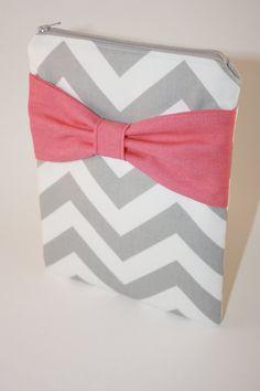 cute!!!!----iPad Case / Sleeve Gray Chevron Stripes by AlmquistDesignStudio…