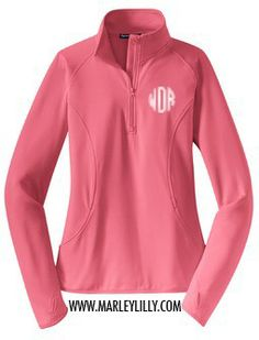 Monogrammed Pink Dry Sport Pullover