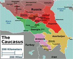 Map of the Caucasus.