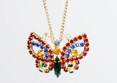 Vintage 60s Juliana Gold Rhinestone Butterfly Pendant Necklace
