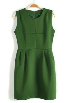 Green Cross Zipper Collarless Sleeveless Cotton Blend Dress $36.14 Dresses For Sale, Dresses For Work, Olive Green Dresses, Dress With Sneakers, Green Cotton, Girly Things, Everyday Fashion, Catwalk, Emerald