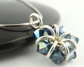 Sterling Silver Eternity Necklace - An Ombre Sapphire Fade of Swarovski Crystals