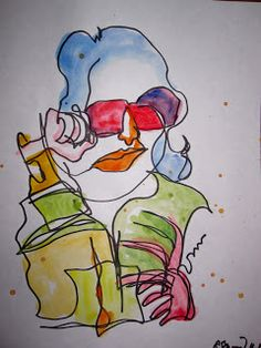 Colored blind contour drawing