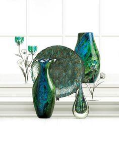 All Good Decor - Peacock Bloom Art Glass Vase Peacock Room Decor, Peacock Living Room, Peacock Bathroom, Peacock Art, Peacock Crafts, Peacock Bedding, Peacock Wreath, Peacock Pillow, Peacock Theme