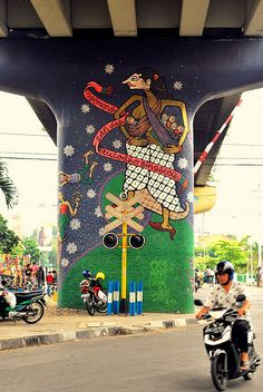 every mural has its own message. mural art in yogyakarta, indonesia.
