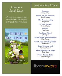"Small town love stories... what better list for your summer readers heading to the lake or beach? Search LibraryAware for ""small town"" under bookmarks 3 or 4 pp."