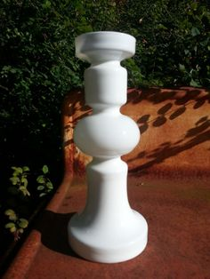 Vintage hooped white glass vase from the 1970s.. by fcollectables