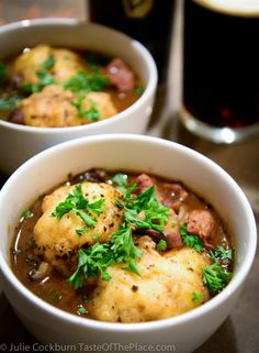 """Guinness beef stew with dumplings from Jamie Oliver's fantastic recipe app called, """"Jamie's Recipes""""."""