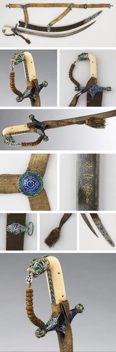 """Shamshir Sword with Scabbard and Belt Culture: blade, Iranian; hilt, Indian Medium: steel, gold, ivory, enamel, velvet, silver, textile Measurements: Blade length, 31 in. (78.74 cm) Classification: Swords There are inscription on the blade in three medallions. In the top medallion: """"Help from God and speedy victory"""" (Koran, ch. LXI, v. 13); central medallion: year A.H. 1162 or 1164 (A.D. 1748–49 or 1750–51) and the lowest medallion: """"Work of Bakir Mashhadi""""."""