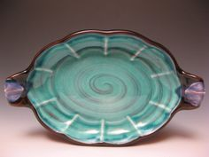 Oval Server Turquoise - 2013 H L D Nova Scotia earthenware with slip and glazes. Glass Ceramic, Ceramic Plates, Pottery Plates, Ceramic Pottery, Cabaret, Earthenware, Stoneware, Lunenburg Nova Scotia, Platter Board