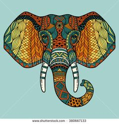 Elephant from the front with two tusks and trunk. Multi-color abstract image of an elephant head with a black outline. It may be used for design of a t-shirt, bag, postcard, a poster, banner. Elephant Outline, Elephant Head, Elephant Face Drawing, Elephant Afrique, Teal Rooms, Animal Masks, Abstract Images, Animal Drawings, Painted Elephants