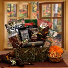 Get the hunting fanatic in your family a gift they will really love. The camo thing gift basket for hunters has everything a hunter needs to stay awake and unde