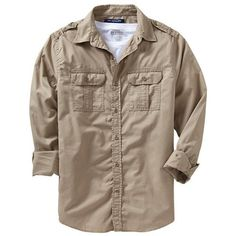 Old Navy Mens Slim Fit Military Style Shirts - Surplus khaki (€11) ❤ liked on Polyvore featuring men's fashion, men's clothing, men's shirts, men's casual shirts, military, mens military shirt, mens military style shirt, mens casual button down shirts, mens longsleeve shirts and mens casual short-sleeve button-down shirts