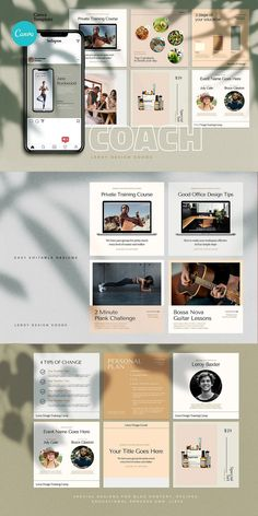 COACH - Canva Instagram Template  Instagram Canva Template for coaches, teachers, food bloggers, podcasters, personal trainers, nutrition experts and entrepreneurs. Featuring eye-candy minimalistic template designs to get your audience and sell your digital offers and courses. Coach Instagram, Being Used Quotes, Branding Template, Cosmetic Shop, Checklist Template, Brand Building, Coaches, Art Education, Colorful Backgrounds