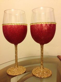 Sparkling Glitter Wine Glasses , Perfect for Holiday.