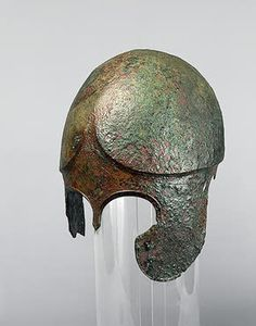 Helmet of a Chalcis Type Nymphaeum Necropolis. Sepulchre No.16   Ancient Greece. First half of 5th century BC Bronze; H. 25 cm Source of Entry:   Imperial Archaeological Commission (excavations by A.E. Lyutsenko). 1876