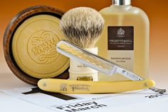 "Caswell Massey sandalwood shave soap, Simpson Milk Churn badger brush, Henckels Friodur stainless 5/8"" straight razor, Truefitt and Hill sandalwood cologne, March 13, 2015. ©Sarimento1"