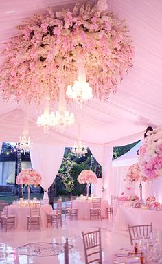 hanging-flowers-wedding-decor, delightful finds & me, Bali wedding, gorgeous wedding flowers Bali Wedding, Tent Wedding, Magical Wedding, Perfect Wedding, Our Wedding, Dream Wedding, Wedding Receptions, Wedding Blog, Wedding Tables