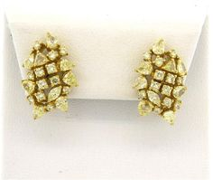 18k Gold 4.30ctw Mixed Cut Diamond Earrings Available in the April 27 Auction on hamptonauction.com !!