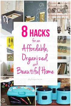 Affordable Organization Hacks: 8 beautiful ways to get your home organized in the kitchen, the bedroom, and the toy room. http://playdatesparties.com/2017/02/affordable-organization-hacks.html