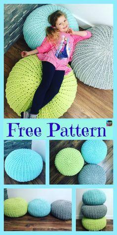 Cozy Crochet Floor Pouf – Free Pattern #freecrochetpatterns #floorpouf #homedecor