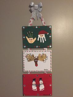 Grandparent Gifts for this year - made with canvases from the Dollarstore, acrylic paints, gems and little bells from the Dollarstore. Love how they turned out...did one panel for each of my three kids