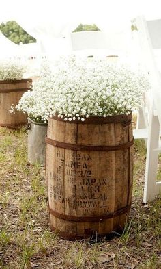 DIY Baby's Breath, Burlap & Lace Wedding IdeaConfetti Daydreams - Whiskey barrel with Baby's Breath as striking decor, especially at a rustic, barn or vintage-inspired wedding ♥ Our Wedding, Dream Wedding, Wedding Country, Wedding Reception, Reception Ideas, Trendy Wedding, Reception Decorations, Wedding Rustic, Rustic Baby